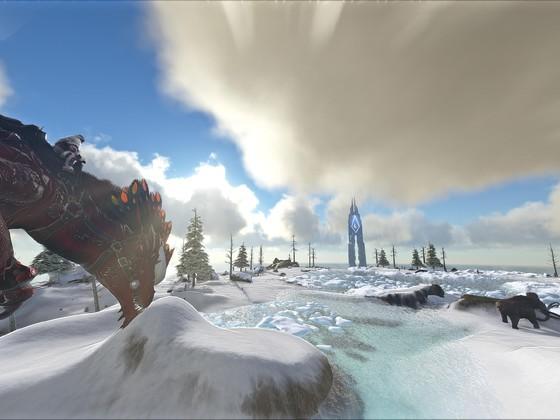 Mit dem Rock Drake im Schnee spielen